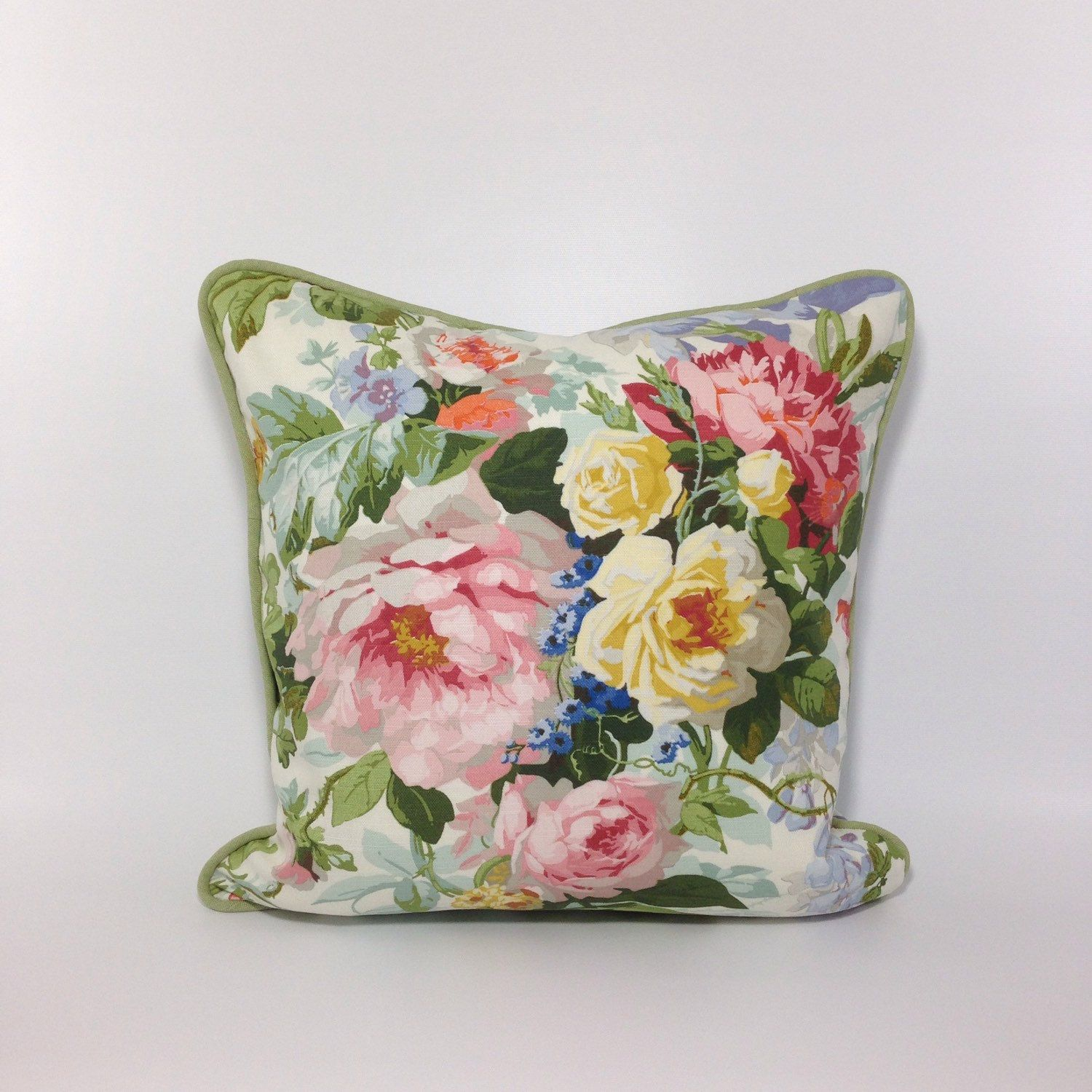 Beautiful floral pillow cover made from fabric designed by kaufmann