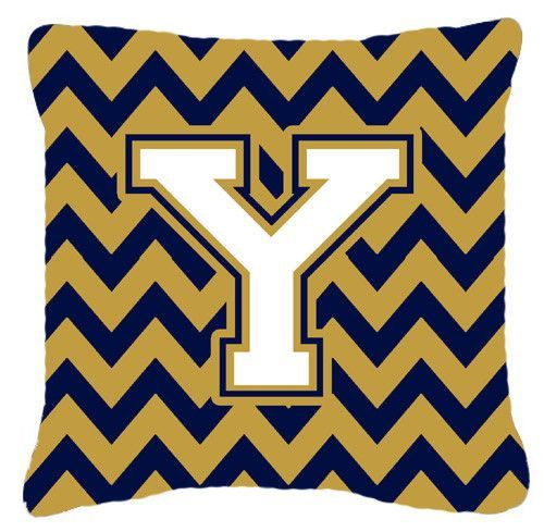 Letter Y Chevron Navy Blue and Gold Fabric Decorative Pillow CJ1057-YPW1414