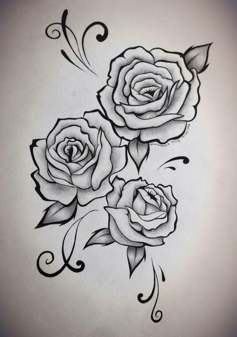 Rose sleeve tattoo stencil