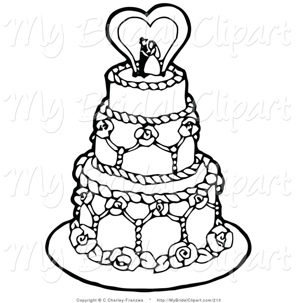 Bridal Clipart of a Coloring Page of a Black and White Tiered ...