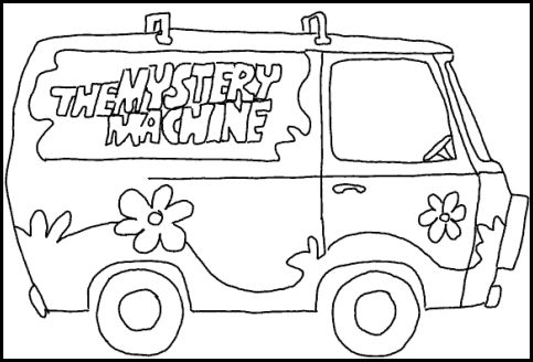mystery machine stencil | Scooby Doo party | Scooby doo coloring ...