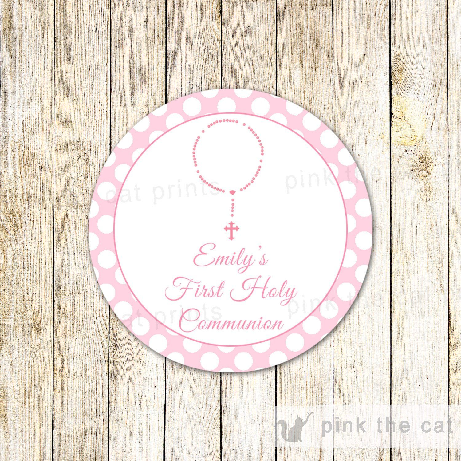Rosary Girl Baptism First Holy munion Favor Label Pink Printable