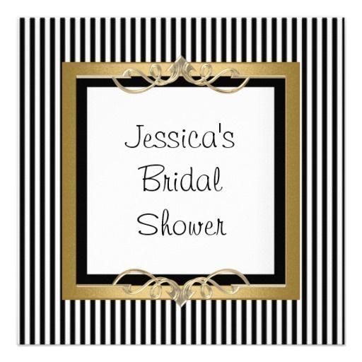 Elegant Black & White Stripe Gold Frame Shower Custom Announcement
