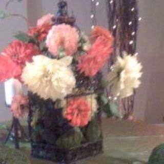 Bird cage with dahlias by flowers by candlelight Brides on Tour wwwflowersbycandlelightnc.com