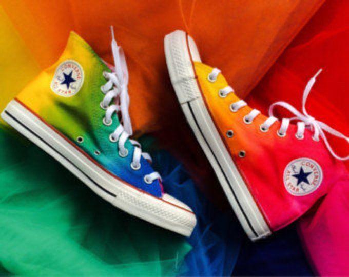Pastel Rainbow Tie Dye High Top Custom Converse   Etsy