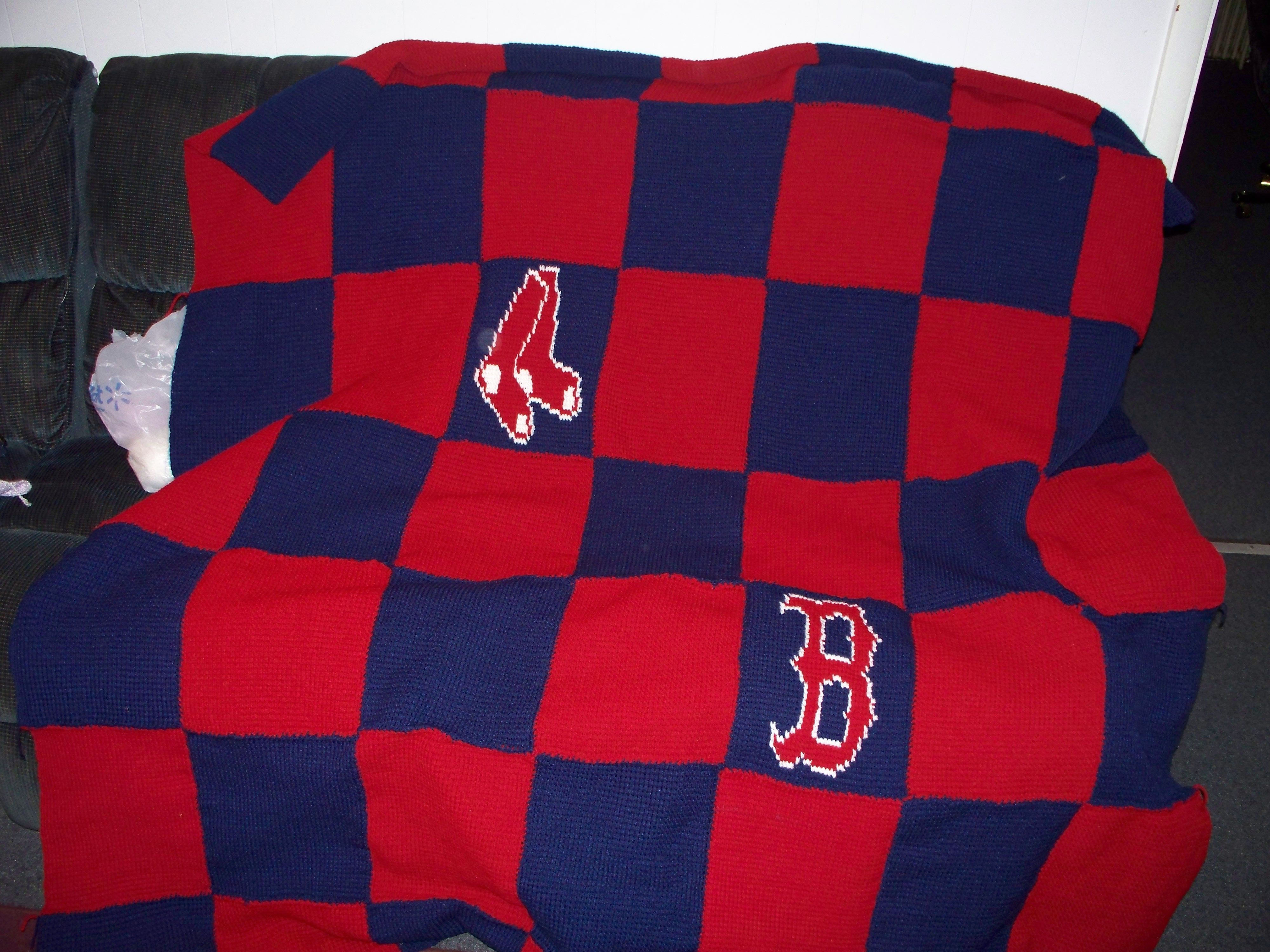 Crocheted Red Sox Afghan Crochet Projects Knit Crochet