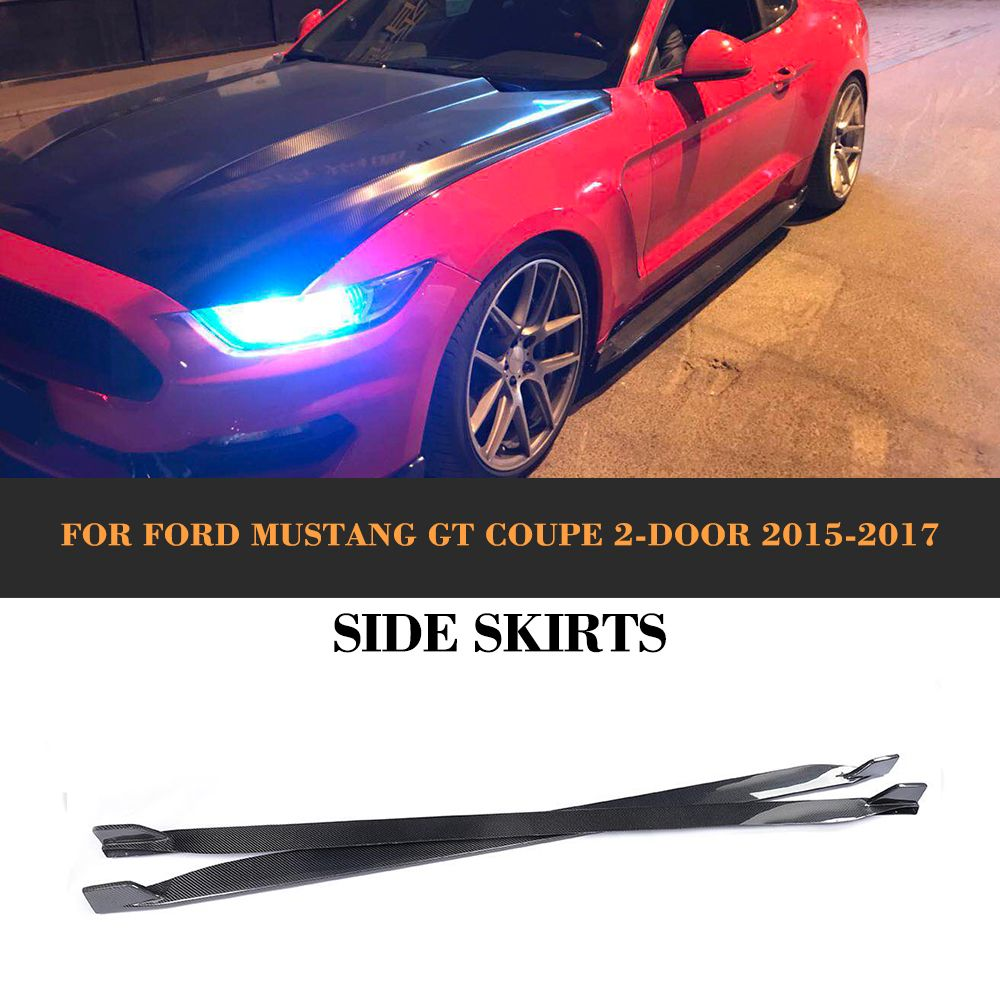 Carbon Fiber Side Body Kit Skirts Apron For Ford Mustang Coupe 2