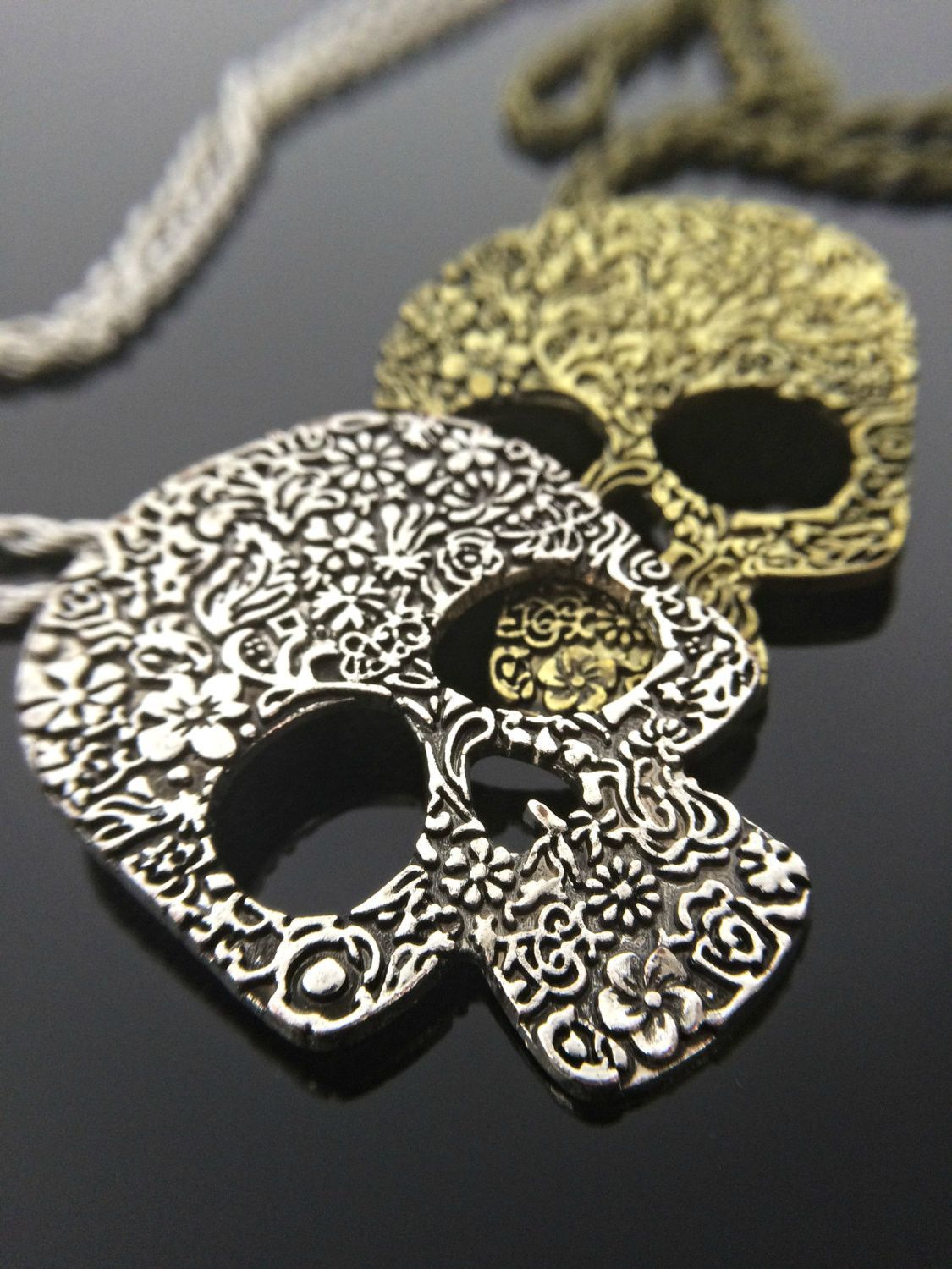 dia the jewelry il listing pendant necklace muertos los sugar skull fullxfull filled mexican sfil day de dead of gold