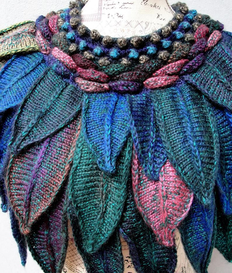 Knitted Wing Cowl Feathers Cowl Scarf Soft Peacock | Etsy