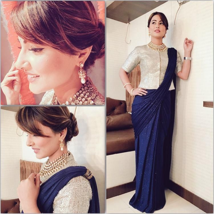 Kashmir Ki Kali! These dreamy clicks of Hina Khan prove that she indeed is the Greek Goddess of Indian television!   Long blouse saree, Saree gown, Saree blouse styles