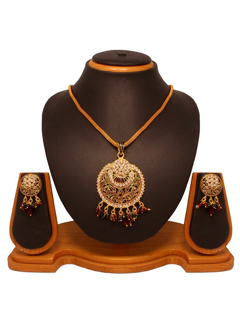 Trendy gold pendant set indian jewelry pinterest pendant set