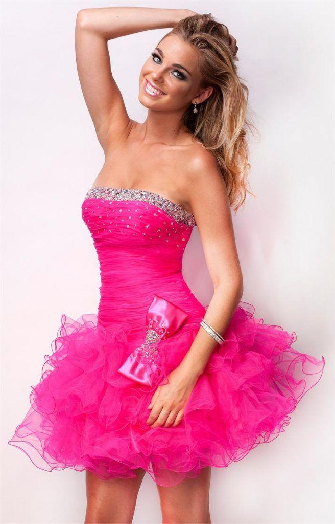 Vestidos de 15 anos cortos color rosa (7) | Quinceañera | Pinterest