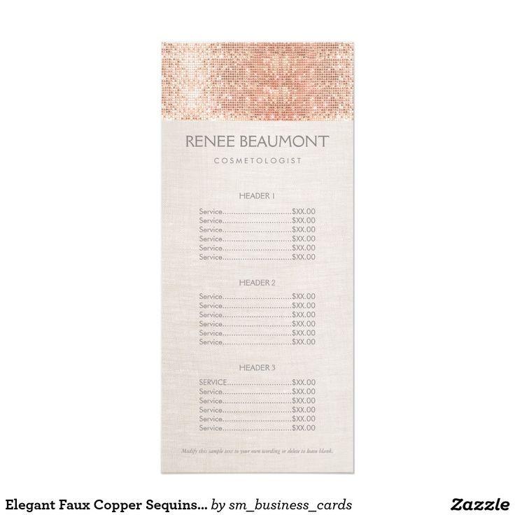 Elegant Faux Copper Sequins Salon Price List Menu Rack Card Template ...