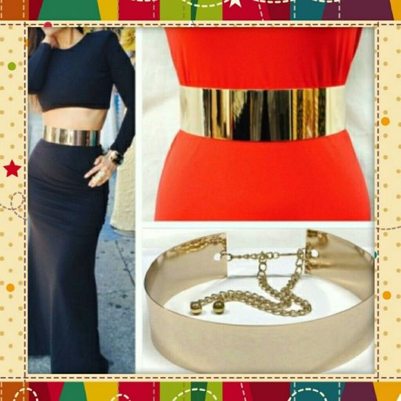 3cc3549b079 Fabulous Gold Metal Belt! It s a real knock out! This unique belt adds  pizazz to all your outfits! Put this with a plain black tank dress   its  total Glam ...