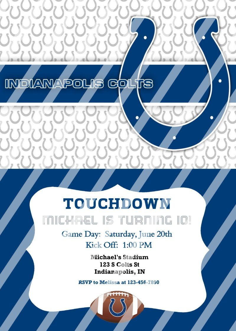 Indianapolis Colts Personalized Party Invitation #12 (digital file ...