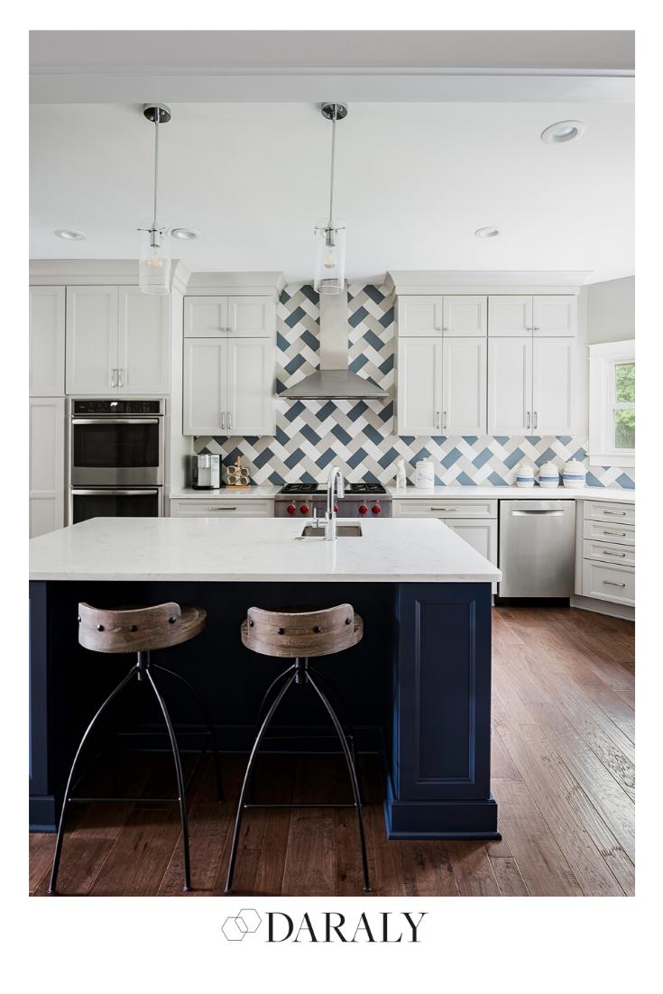 patterned herringbone backsplash beforeafterkitchen kitchensideas kitchenideasbeforeandafter on kitchen decor navy id=71827