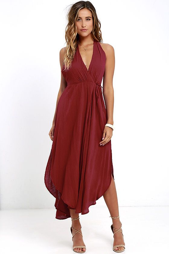 33537945a The Was it a Dream Berry Red Midi Halter Dress will have you dancing on  cloud nine! Gauzy woven rayon shapes a tying halter neckline atop a wrap  bodice with ...