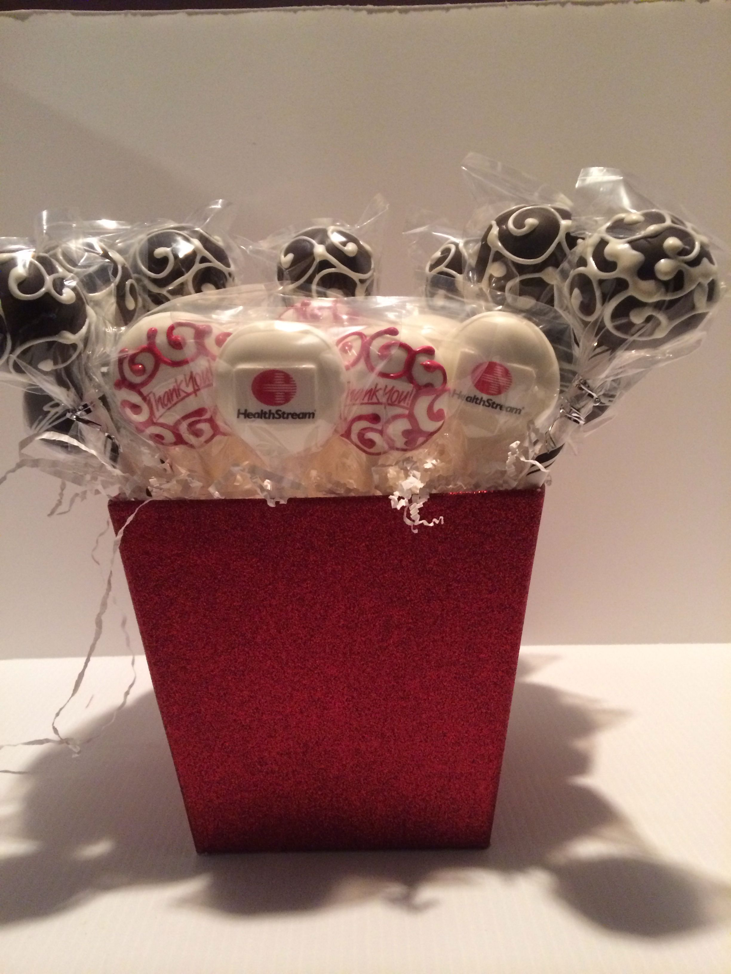 Company Logo and Thank You cake pops Corporate christmas