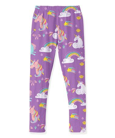0aa1d101dad88 Another great find on #zulily! Purple Unicorn Leggings - Toddler & Girls  #zulilyfinds
