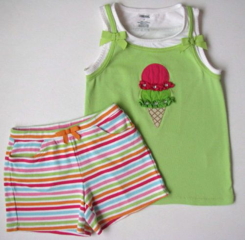 PLAY-Gymboree-Ice-Cream-Sweetie-girls-7-Green-Cone-Tank-Top-Striped-Knit-Shorts