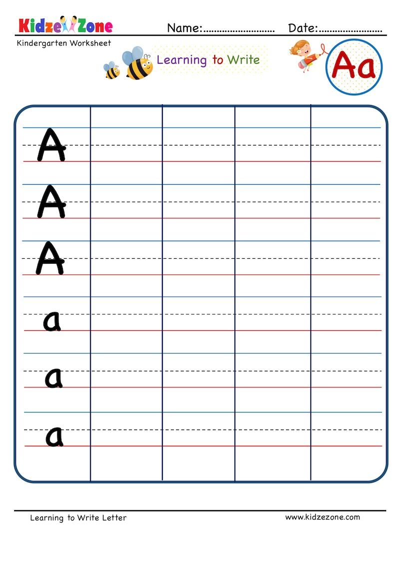 Kindergarten Letter A Writing Worksheet Writing On Line In 2020 Writing Worksheets Kindergarten Letters Letter Writing Worksheets