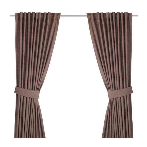 Ikea Ingert Curtains 57x118 Brown Window Drapes Cotton Linen With