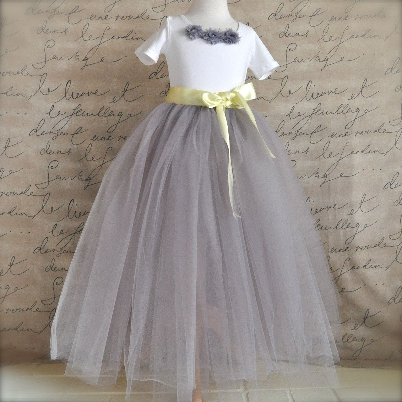 Pale Grey Flower Girl Tutu And Optional Yellow Rose Clip Sewn And