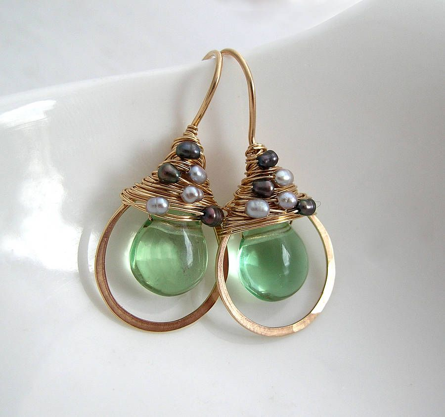green flourite and pearl earrings by sarah hickey | notonthehighstreet.com