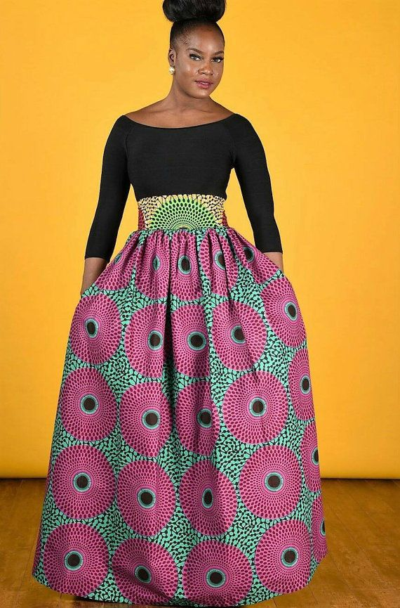 603dc25b38 Most loved bold African print maxi skirt features 4 constrast waistband 45  skirt lenght, gathered waistline. 2 side pockets Colors : pink/ green 100%