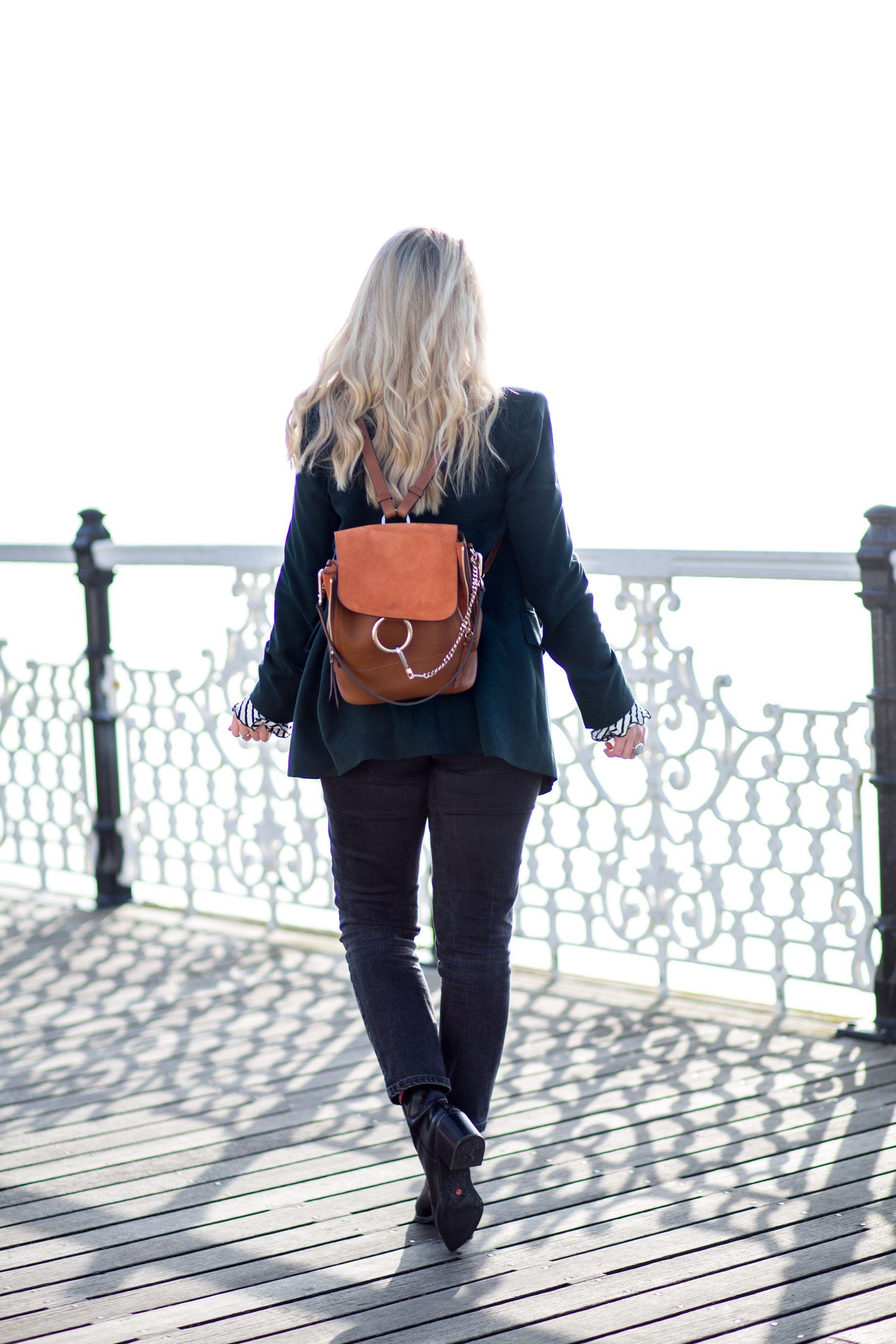 12e4a82ac1 Chloe Faye Backpack, Zara Blazer, Forrest Green Suit, Mango Breton Top    mediamarmalade   fashion blogger   style inspiration   outfit inspiration