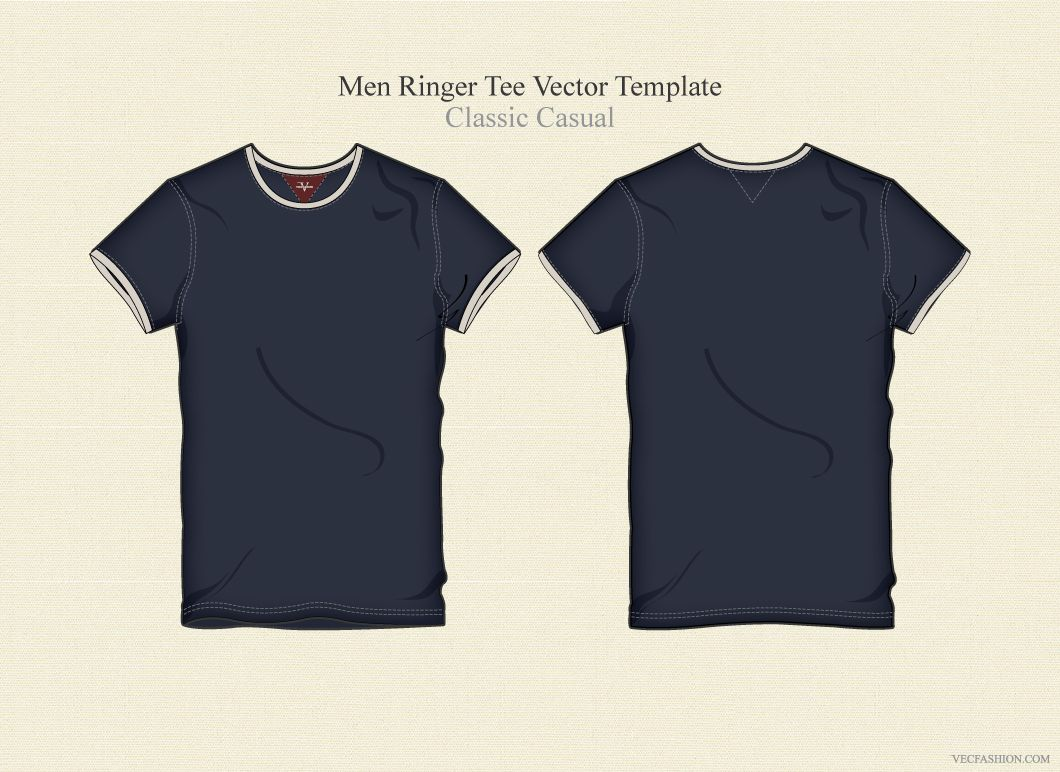 Download Men Ringer Tee Vector Template Ringer Tee Tees Templates