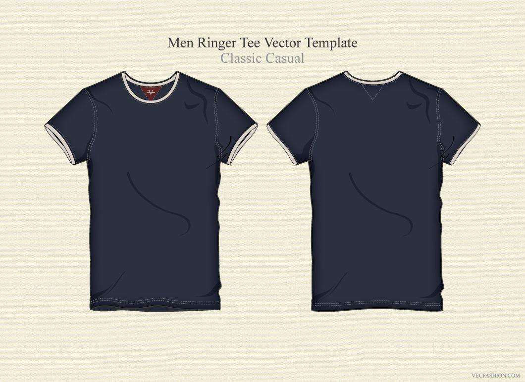 Download Men Ringer Tee Vector Template Ringer Tee Tees Templates