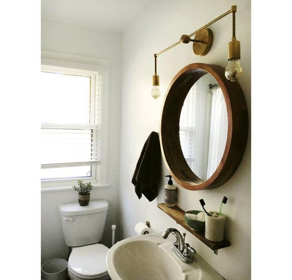 modern bathroom lights above mirror