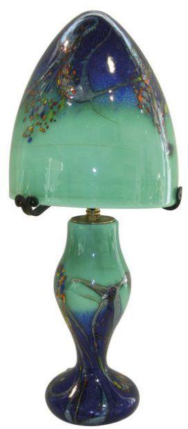 Branly Lampe Champignon En Pate De Verre Vert Bleu Et Inclusions H