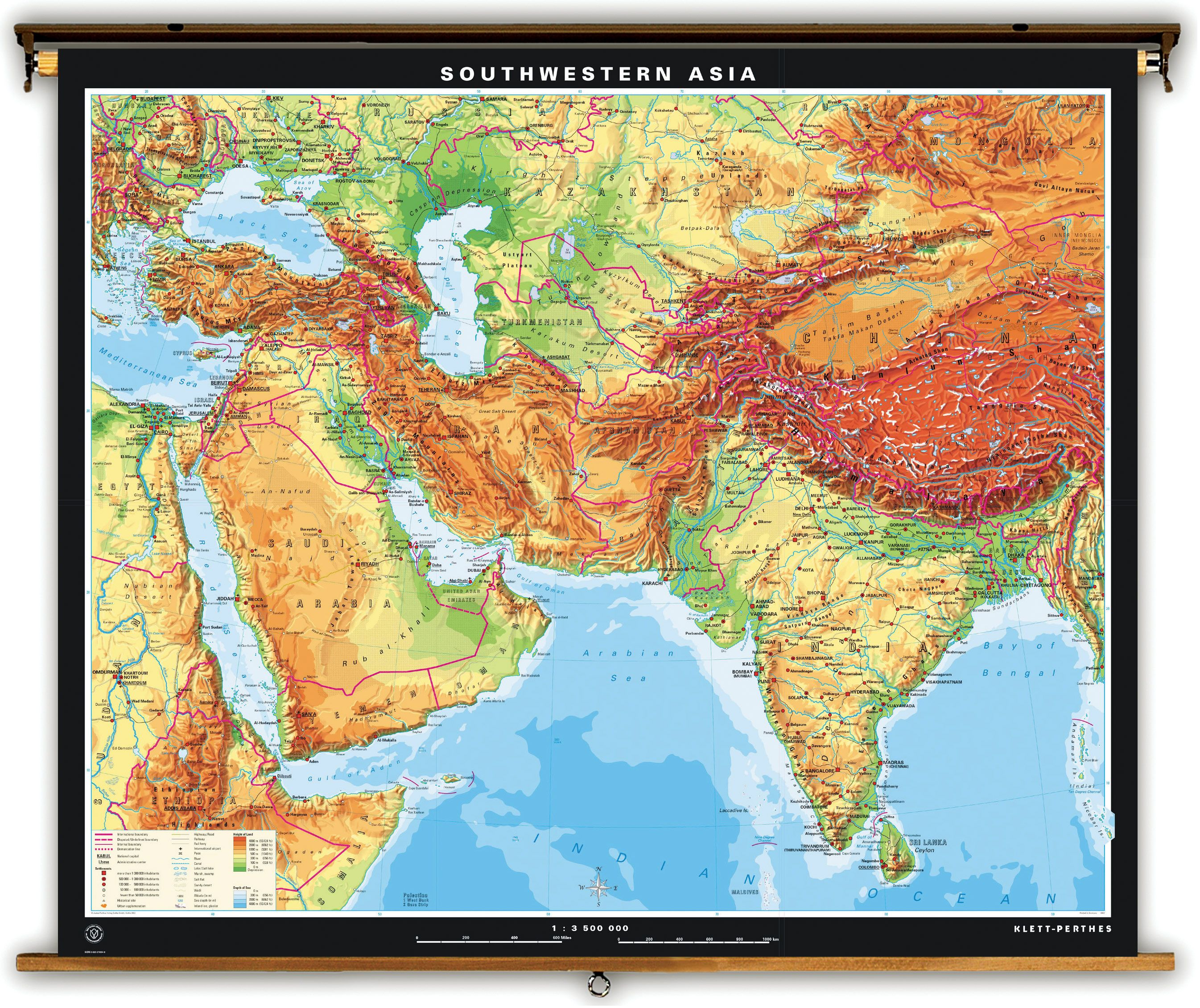 Physical Geography Map Of Southwest Asia
