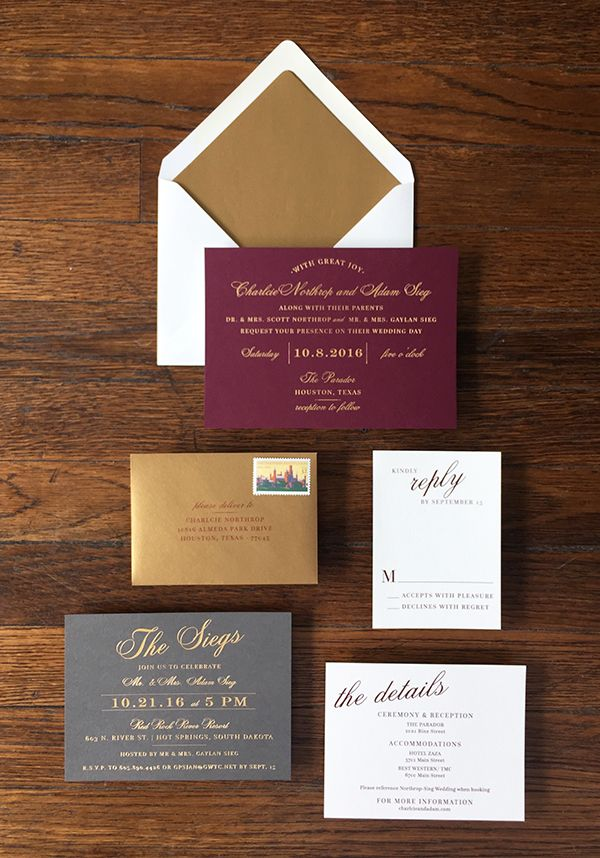 how to address couples on wedding invitations%0A charlcie  u     adam u    s wine  gold  u     slate wedding invitations