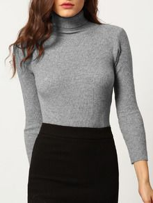 Pull moulant col montant -gris