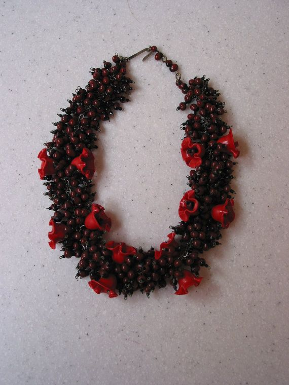 Vintage berries and flower necklace early Haskell by PocoKiko, $95.00