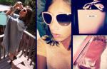 Miu Miu Blush pink Glasses; Diesel Black Gold Cape & Shoes, Chanel Cuff, Topshop cross Earrings