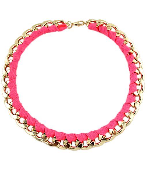 cadena dorado con cuerda rosa neon