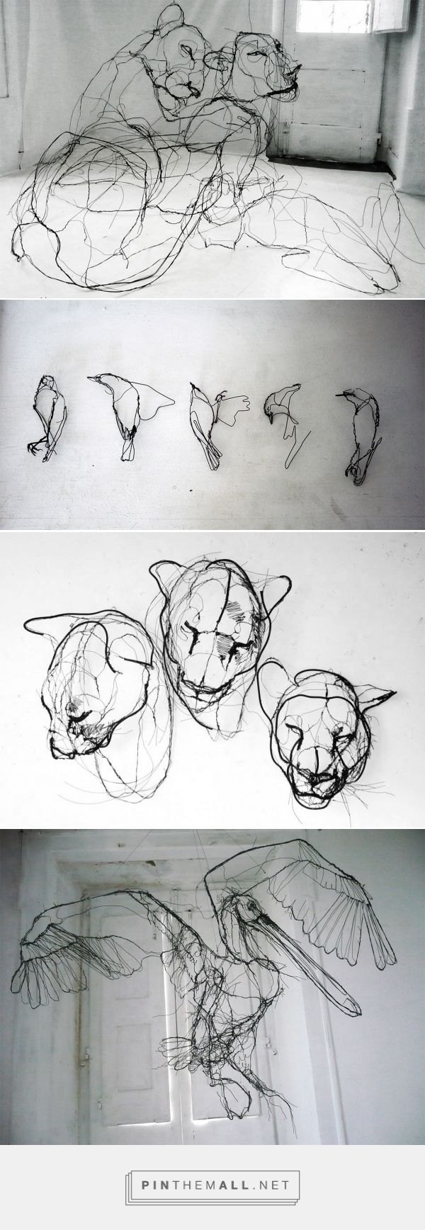 Wire Animal Sculptures that Look Like Scribbled Pencil Drawings by David Oliveira   Colossal - created on 2015-10-13 17:05:32