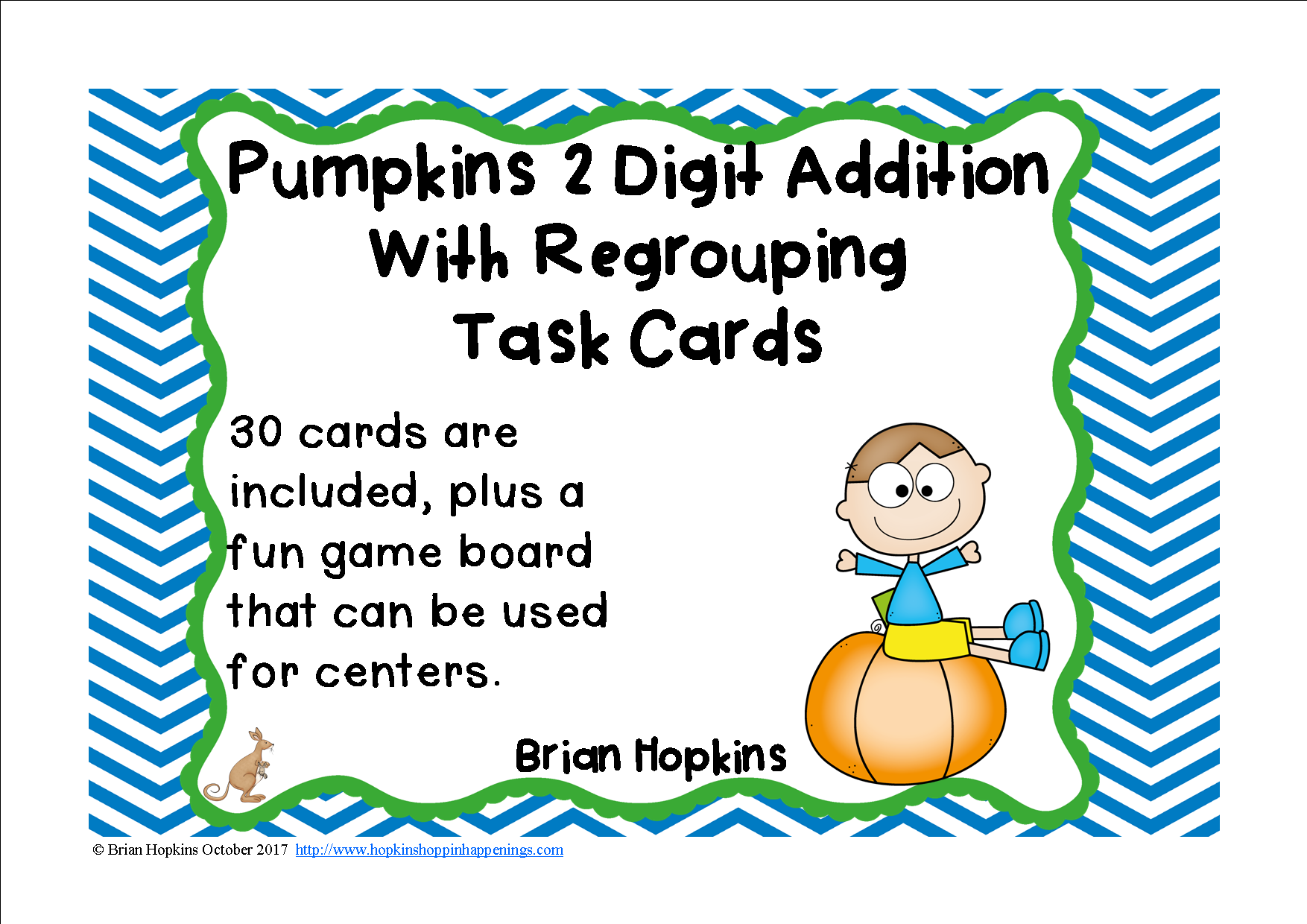 Pumpkins 2 Digit Addition Regrouping Task Cards With
