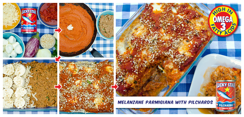 Melanzane Parmigiana - with a different twist.   Get the recipe here >> http://www.foodandthefabulous.com/recipes/melazane-parmigiana-with-sardines-basil/