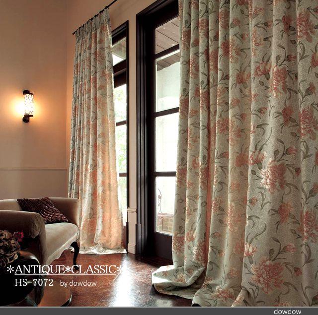 アンティーク クラシック 豪華な カーネーション のジャガード織のドレープカーテン シェード Hs 7072 オレンジ ベージュ インテリア クラシック インテリアアイデア カーテン