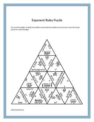 Exponent Rules Puzzle | Math | Pinterest | Math, Algebra and Teacher