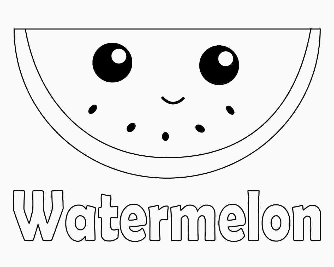 Cute Watermelon Coloring Pages Coloring Pages Fruit Coloring