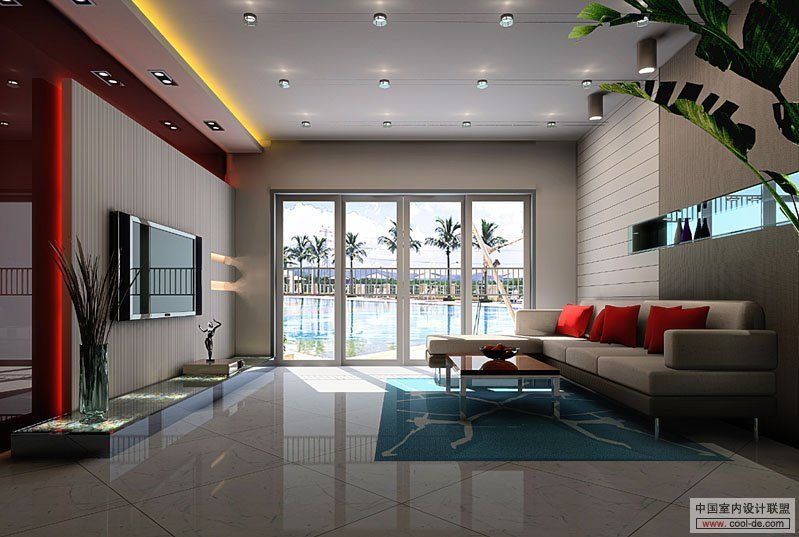 Tv entertainment center in modern living room designs idea wall mounted tv as separator in modern living room designs idea by cool de home designs and