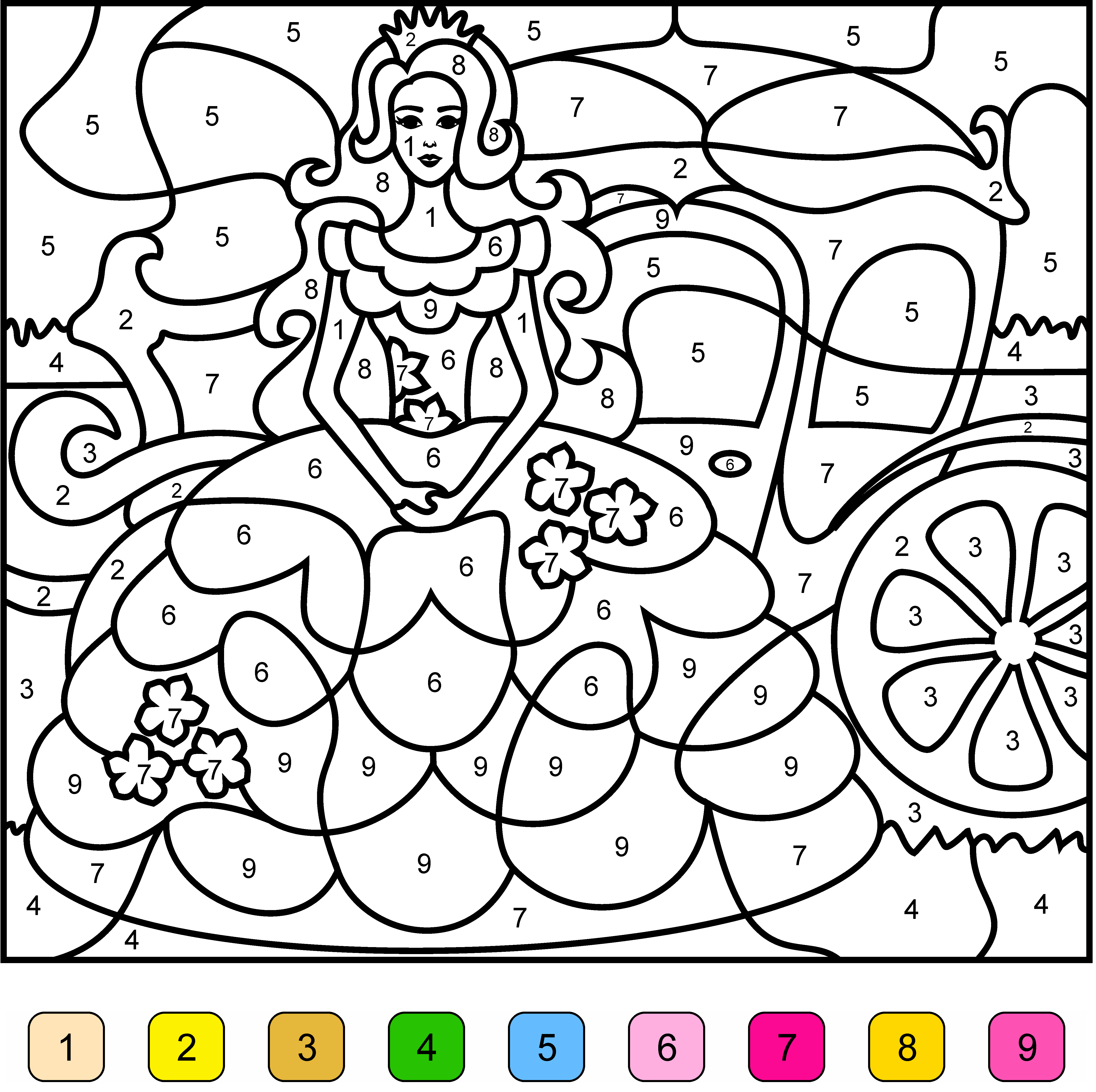 Princess Color By Number Free online coloring, Coloring