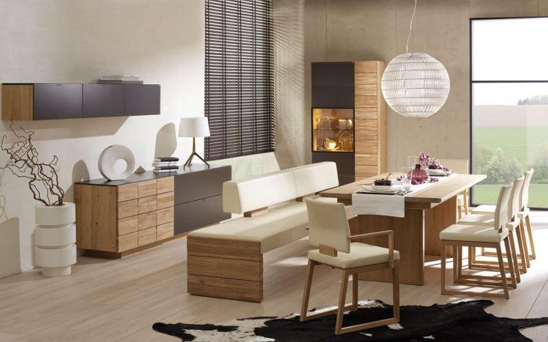 Wohnidee f rs esszimmer creme kombiniert mit hellem holz - Voglauer wohnzimmer ...