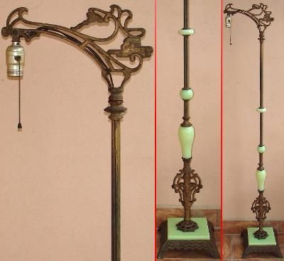 Antique 1920s Bent Bridge Floor Lamp W Jadeite Green